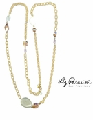 Swarovski Crystal & Gemstone Mixed Link Chain Long Necklace by Liz Palacios