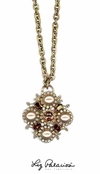 Swarovski Crystal Topaz Multi Bold Medallion Pendant Necklace by Liz Palacios