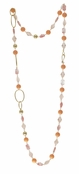Spring Street Secret Garden Semi-Precious Peach Multi Long Necklace