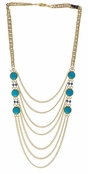 Spring Street Beach Glass Turquoise Semi-Precious Cabachon Necklace
