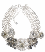 Spring Street Mesh Madness Multi Flower and Grey Pearl Necklace