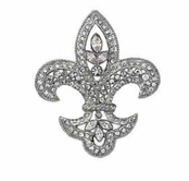 House of Windsor Fleur De Lis Crystal Brooch by Spring Street