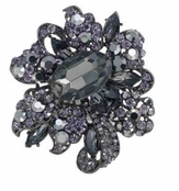 Midnight Shimmer Large Hematite Brooch by Spring Street