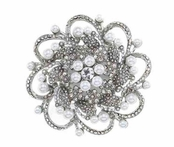 Large Crystal & Pearl Flower Pin by Spring Street