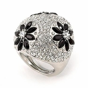 Pave'd Dome Crystal Jet Daisies Cocktail Ring by Spring Street