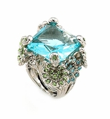 Spring Awakening Aqua Solitaire Multi Flower Crystal Cocktail Ring by Spring Street