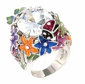 Crystal & Enameled Garden Ring by Spring Street
