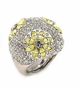 Pave Dome Crystal Daisies Cocktail Ring by Spring Street