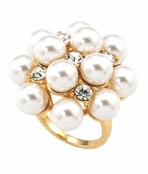 The Gilded Collection Pearl & Crystal Cluster Ring by Spring Street