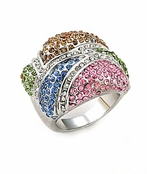 Rainbow Pave'd Crystal Cocktail  Ring by Spring Street