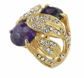 Morrocan Jewels Pave'd  Leaf Wrapped Amethyst Crystal Ring by Spring Street