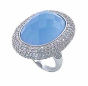 Winter Queen Crystal Pave'd Light Blue Stone Ring by Spring Street
