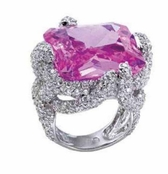 Sweetheart Collection Pink Princess Pave'd CZ Ring by Spring Street
