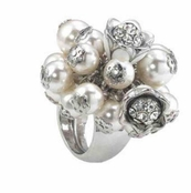 Empire Collection Pearls With Flowers Shaky Ring by Spring Street
