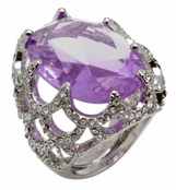 Spring Street Hollywood Nights Oval Amethyst Cocktail Ring