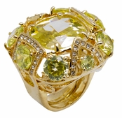 Spring Street Luminosity Bold Peridot Green CZ Cocktail Ring