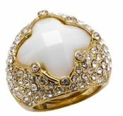 Spring Street Luminosity White Diamond Shaped Pave'd Crystal Ring