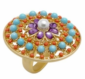 Spring Street Casablanca Nights Multi Color Filigree Medallion Ring