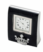 Jet Enamel Crystal Crown Clock by Spring Street