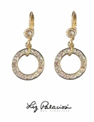 Swarovski Crystal Golden Circle Drop Leverback Earrings by Liz Palacios