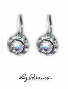 Swarovski Crystal Framed Rondel Sterling Silver Leverback Earrings by Liz Palacios