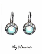 Swarovski Crystal Framed Rondel Pacific Opal Sterling Silver Leverback Earrings by Liz Palacios