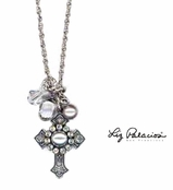 Swarovski Crystal and Pearl Cluster Cross Pendant Necklace by Liz Palacios