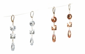 Multi Brilliant Cut Faceted CZ Leverback Earrings