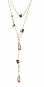 Dream Champagne & Jet Multi CZ Lariat Necklace