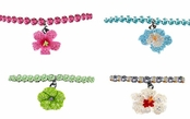 Crystal & Enamel Hibiscus Flower Stretch Anklet