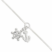 Multi Sea Charms Silver Ankle Bracelet