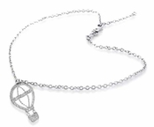 Pave'd CZ Hot Air Balloon Sterling Silver Ankle Bracelet