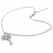 Pave'd CZ Palm Tree Sterling Silver Ankle Bracelet
