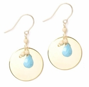 Devotion Turqoise & Polished Disc Drop Earrings