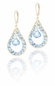 Wishes London Blue Topaz Teardrop Leverback Earrings
