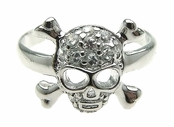 Pave'd Skull & Crossbones Sterling Silver Adjustable Toe Ring
