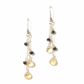 Honeysuckle Citrine & Onyx Gemstone Earrings