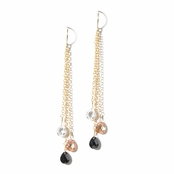 Triple Drop CZ Briolette Earrings