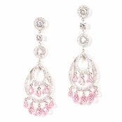 Pink & Clear CZ Chandelier Earrings