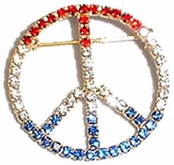 Patriotic Rhinestone Peace Sign Pin