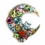 Moon & Stars Multi Crystal Pin