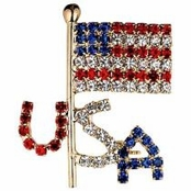 USA Flag Crystal Rhinestone Pin