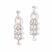 Teardrop & Multi Strand CZ Chandelier Earrings