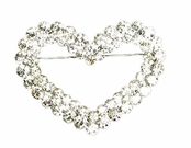 Crystal Two Row Open Heart Pin