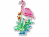 Caribbean Flamingo Sterling Silver Enameled Pin