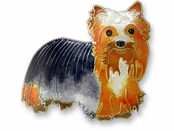 Yorkie Terrier Sterling Silver Enameled Pin