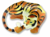 Tiger Sterling Silver Enameled Pin