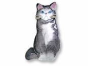 Blue & White Cat Sterling Silver Enamed Pin