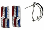 Patriotic Crystal & Enamel Hoop Earrings