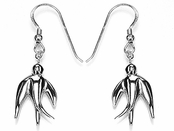 Bird in Flight Polished Drop Earrings